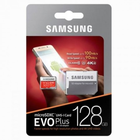 Memory Card Micro SDHC Samsung Evo Plus 128GB Classe 10 MB-MC64GA/EU 4K Adattatore Blister Originale Memoria