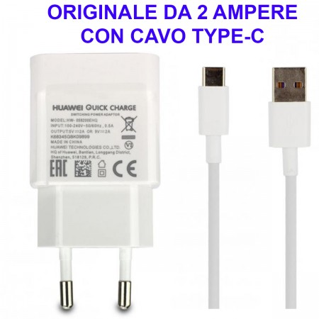 Alimentatore Caricatore Originale HUAWEI AP32 TYPE-C Quick Charger Carica Veloce Bianco Blister