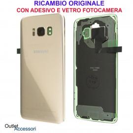 Copribatteria Scocca Samsung Galaxy S8 G950 Originale Scocca Vetro Posteriore Retro GOLD ORO