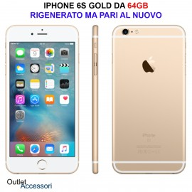 Cellulare Smartphone APPLE IPHONE 6S 64GB GOLD ORO Rigenerato AAA NERO PARI AL NUOVO