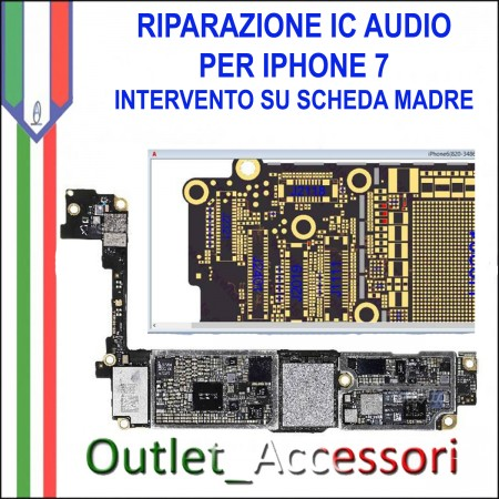 Servizio Riparazione IC Audio Chip per Apple Iphone 7 A1660 A1778 intervento su Scheda Madre