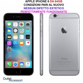 Cellulare Smartphone APPLE IPHONE 6 64GB GREY Rigenerato AAA NERO PARI AL NUOVO