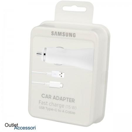 Alimentatore Caricatore Originale Samsung Auto Car Fast Charger Carica Veloce 15W Type C Blister Bianco