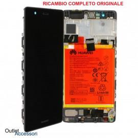 Display Schermo Originale Huawei P9 Nero LCD Touch con Flat e Batteria 02350RPT