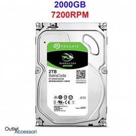Hard Disk HDD Memoria Seagate BarraCuda 2TB 2000GB 3,5'' 7200RPM ST2000DM006