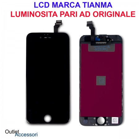 Display Schermo LCD Touch Screen Vetro Apple Iphone 6 Nero Black