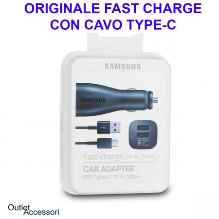 Alimentatore Caricatore Originale Samsung Auto Car Fast Charger Carica Veloce 15W Type C Blister Nero
