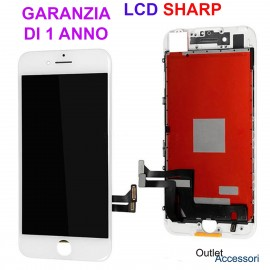 Display Schermo ORIGINALE SHARP per Apple Iphone 8 Bianco LCD Touch Vetro OEM 3D