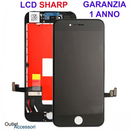 Display Schermo ORIGINALE SHARP per Apple Iphone 7 Nero LCD Touch Vetro OEM 3D
