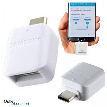 Adattatore OTG Originale Samsung Type-C Tipo C a Porta USB S8 S9 S10 NOTE 8 9 PLUS BIANCO