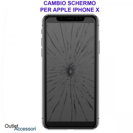 Sostituzione Display Rotto per Apple Iphone X 10 Riparazione Cambio Schermo Lcd Vetro Ricambio Sharp pari ad Originale