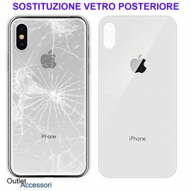 Cambio Vetro Posteriore Scocca per Apple Iphone X Sostituzione Back Cover Rotto Copribatteria