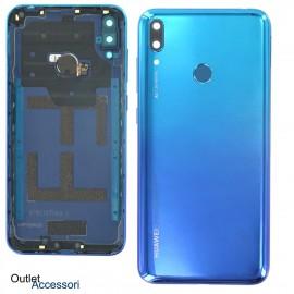 Copribatteria Scocca Posteriore Originale Huawei Y7 2019 BLU Vetro Tasto Impronte Back Cover 02352KKJ