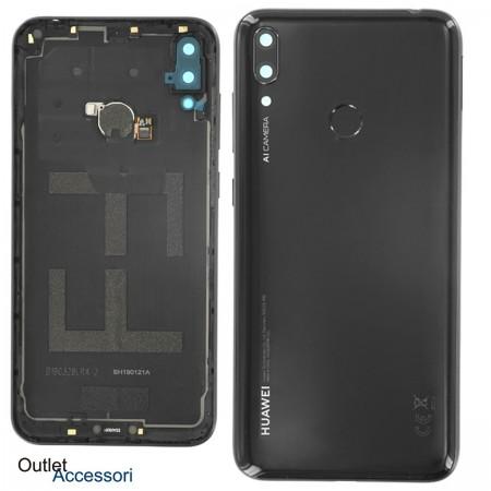 Copribatteria Scocca Posteriore Originale Huawei Y7 2019 NERA BLACK Vetro Tasto Impronte Back Cover 02352KEQ