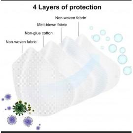 Maschera Respiratore Mascherina FFP2 KN95 4 Filtri Polvere Protezione Aria