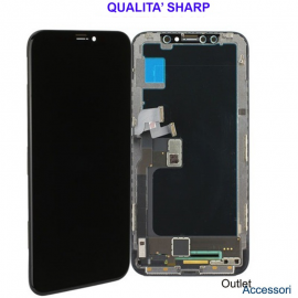 Display Schermo ORIGINALE SHARP per Apple Iphone X Nero LCD Touch Vetro OLED OEM 3D
