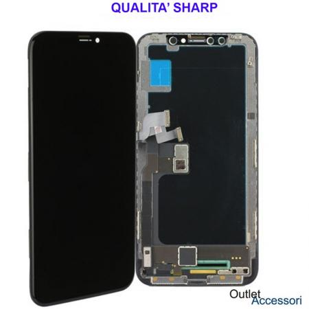 Display Schermo ORIGINALE SHARP per Apple Iphone X Nero LCD Touch Vetro OLED OEM 3D